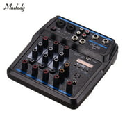 Muslady U4 Portable 4 Channels Audio Mixer BT USB Mixing Console with Sound Card Built-in 48V Phantom Power Plug