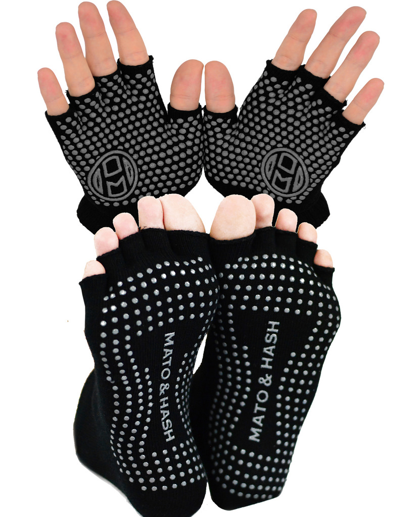 Yoga Gloves AND Socks COMBO PACK | Yoga Gear for Women & Men | by Mato & Hash - Blackout CA7050 CA7200 S/M