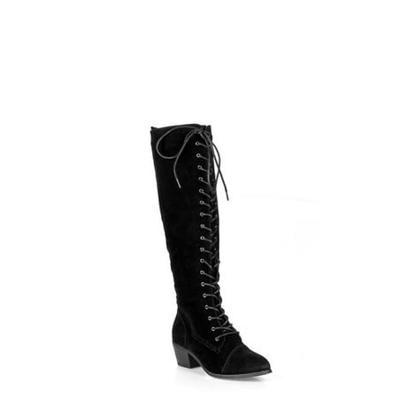 Nature Breeze Lace up Women's Combat Boots in Black - Black Lace Boots