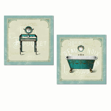 Parisian Themed Decor (Lovely Teal French Parisian Bathtub and Vanity Set by Sue Schlabach; Bathroom Decor; Two 12x12in Unframed Paper)