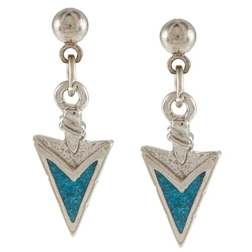 Southwest Moon  Silvertone Turquoise Inlay Arrowhead Dangle Earrings