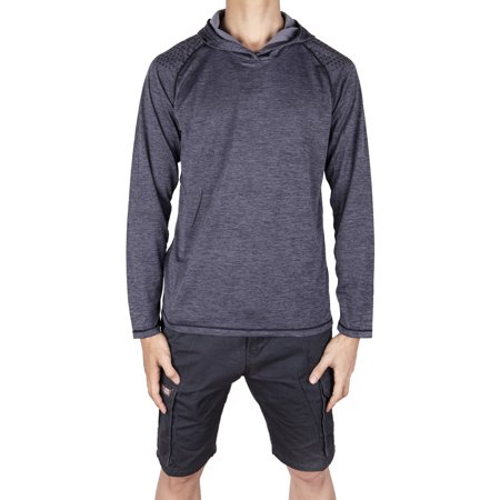 LELINTA Men's Gym Workout Long Sleeve Hoodies Training Sports Pullover Solid Color Casual Hooded Sweatshirts