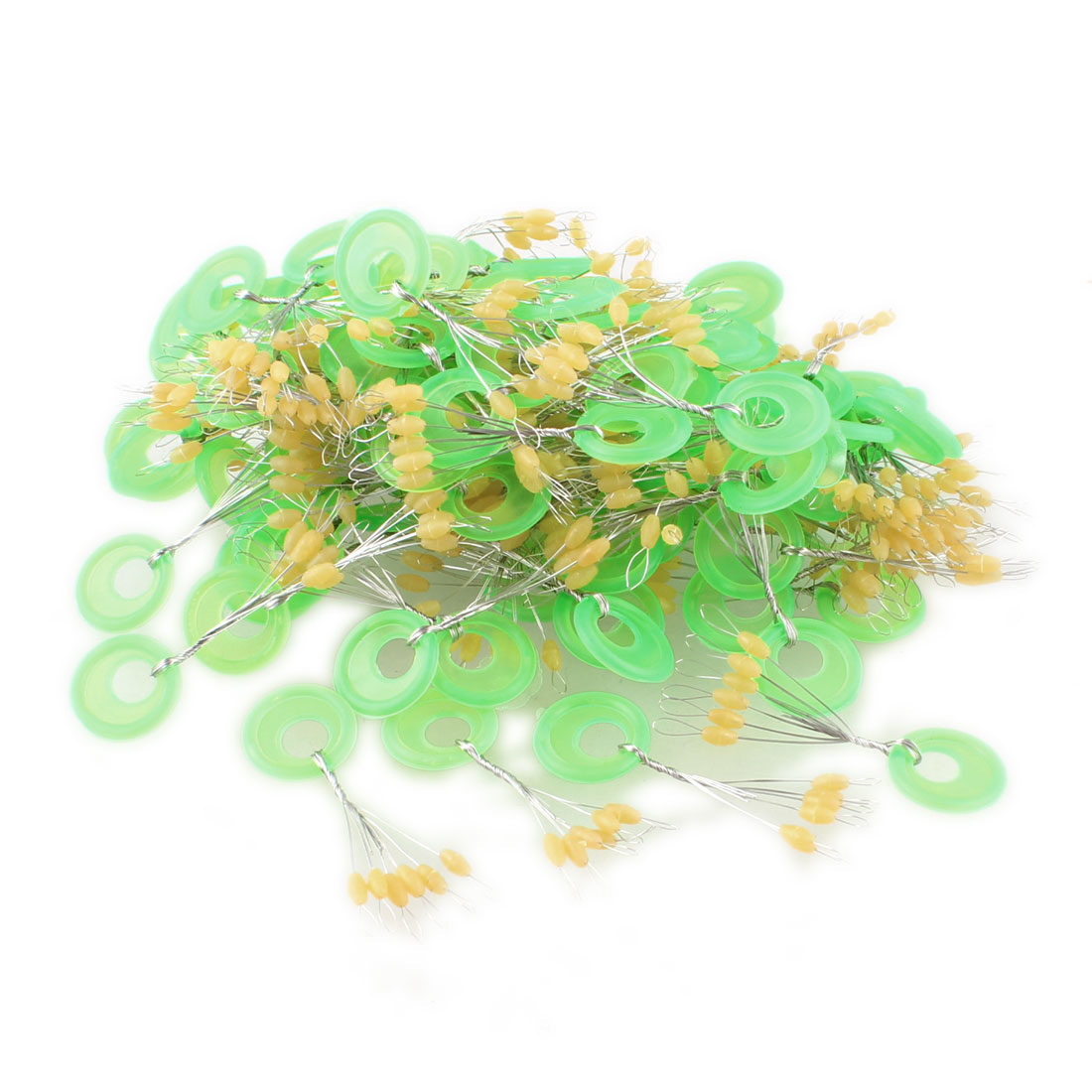 Unique Bargains 98 Pcs 6 in 1 Green Plastic Angling Tackle Fishing Bobbers Stoppers by