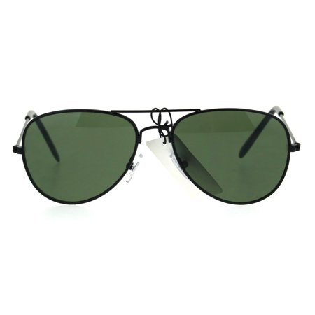 Kids Size Boys Classic Pilot Aviator Metal Rim Police Style Sunglasses Black Green - Kids Aviators