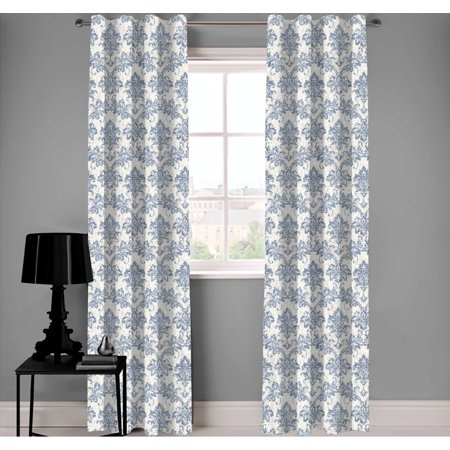 Cara Blue/White Designer Damask Organic Cotton Drapery (Organic Cotton Drapes)