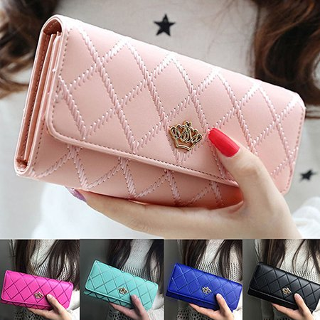 Purse Wallet (Girl12Queen Women Quilted Crown Clutch Long Purse Faux Leather Wallet Card Holder)