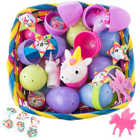 Bulk Unicorn Toy Filled Easter Eggs for Girls Egg Hunt, Assorted Colors, 2.5