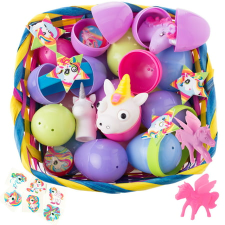 Bulk Unicorn Toy Filled Easter Eggs for Girls Egg Hunt, Assorted Colors, - Giant Yard Easter Eggs