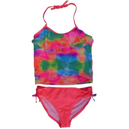 09d21eb417 Angel Beach - Angel Beach Girls Laser Cut Flounce Water Color Tankini  Swimsuit Bathing Suit - Walmart.com