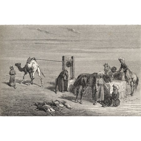 Posterazzi A Well In The Desert Between Samarkand And Karshi Uzbekistan In The 19Th Century From El Mundo En La Mano Published 1878 Canvas Art - Ken Welsh Design Pics (36 x 22)