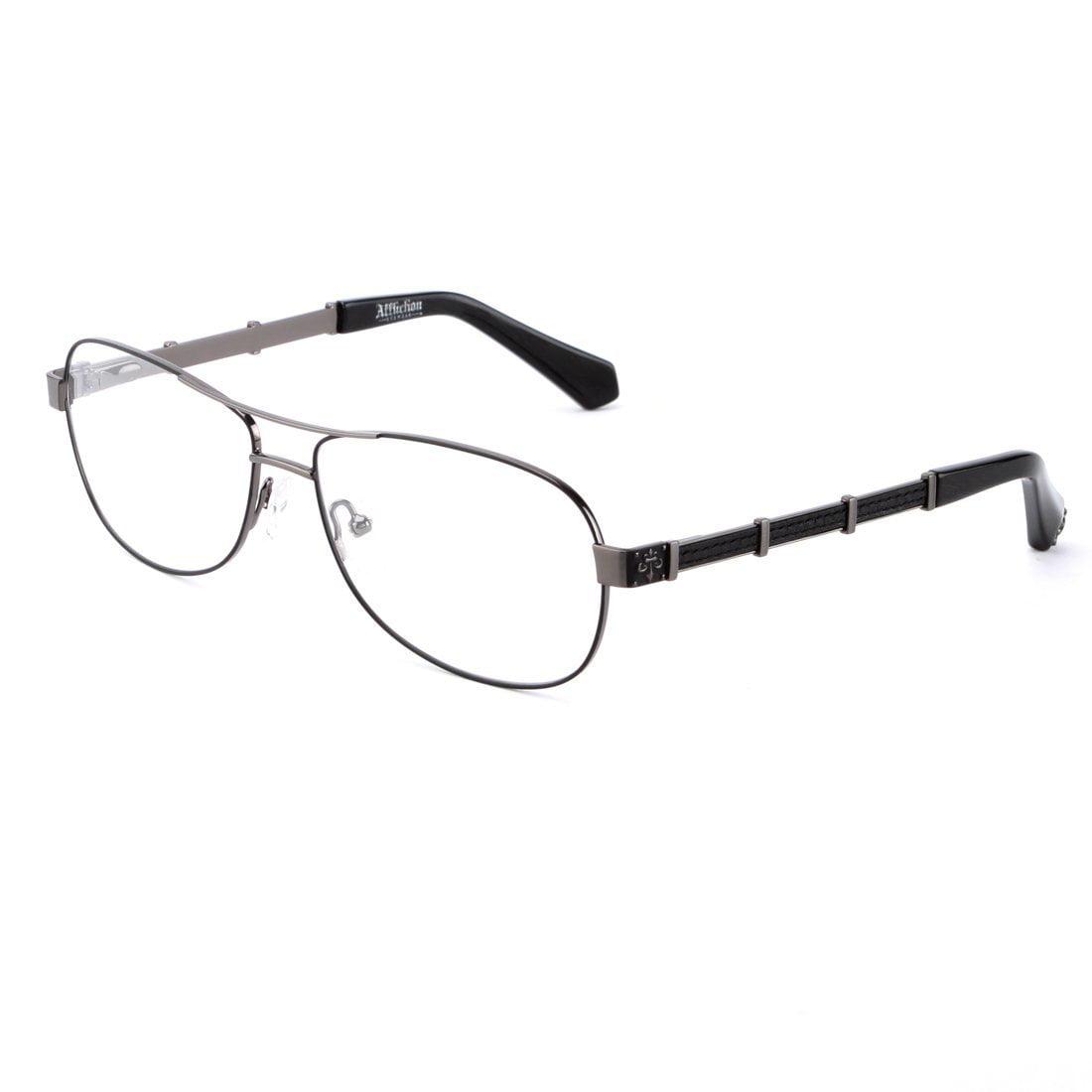 Image of Affliction OWEN Designer Eyeglasses Shiny Black/Silver