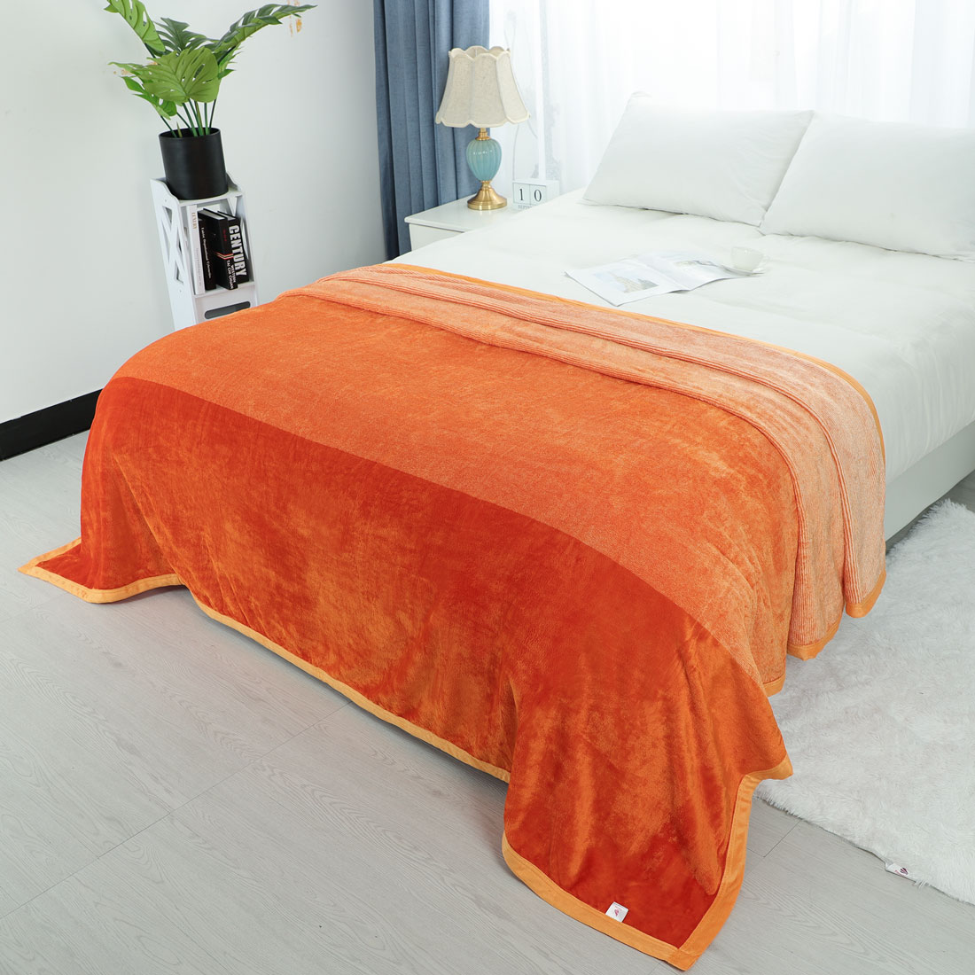 """Beautiful Soft Mink Solid Orange Red Blanket Queen or Full Bed 78/""""W x94/""""L"""