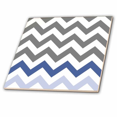3dRose Charcoal grey chevron with blue zig zag accent - gray zigzag pattern - Ceramic Tile, 4-inch