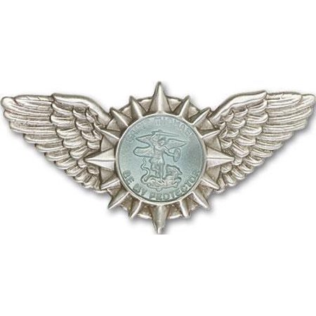 St. Michael / Wings Visor Clip with Antique Silver