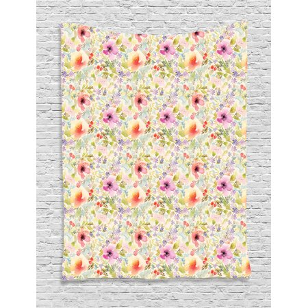 Flower House Decor Wall Hanging Tapestry, Nostalgic Pastel Soft Colored Different Type Cute Floral Set Spring Hope Leaf Love Theme, Bedroom Living Room Dorm Accessories, By - Pastel Floral Tapestry
