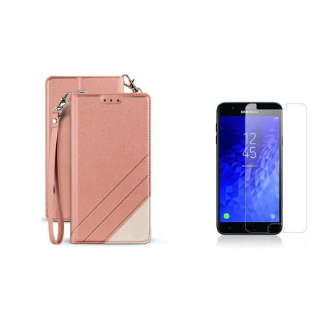 BC Synthetic PU Leather Magnetic Flip Cover Wallet Case (Rose Pink) with Tempered Glass Screen Protector and Atom Cloth for Samsung Galaxy J7 Star (T-Mobile) ()