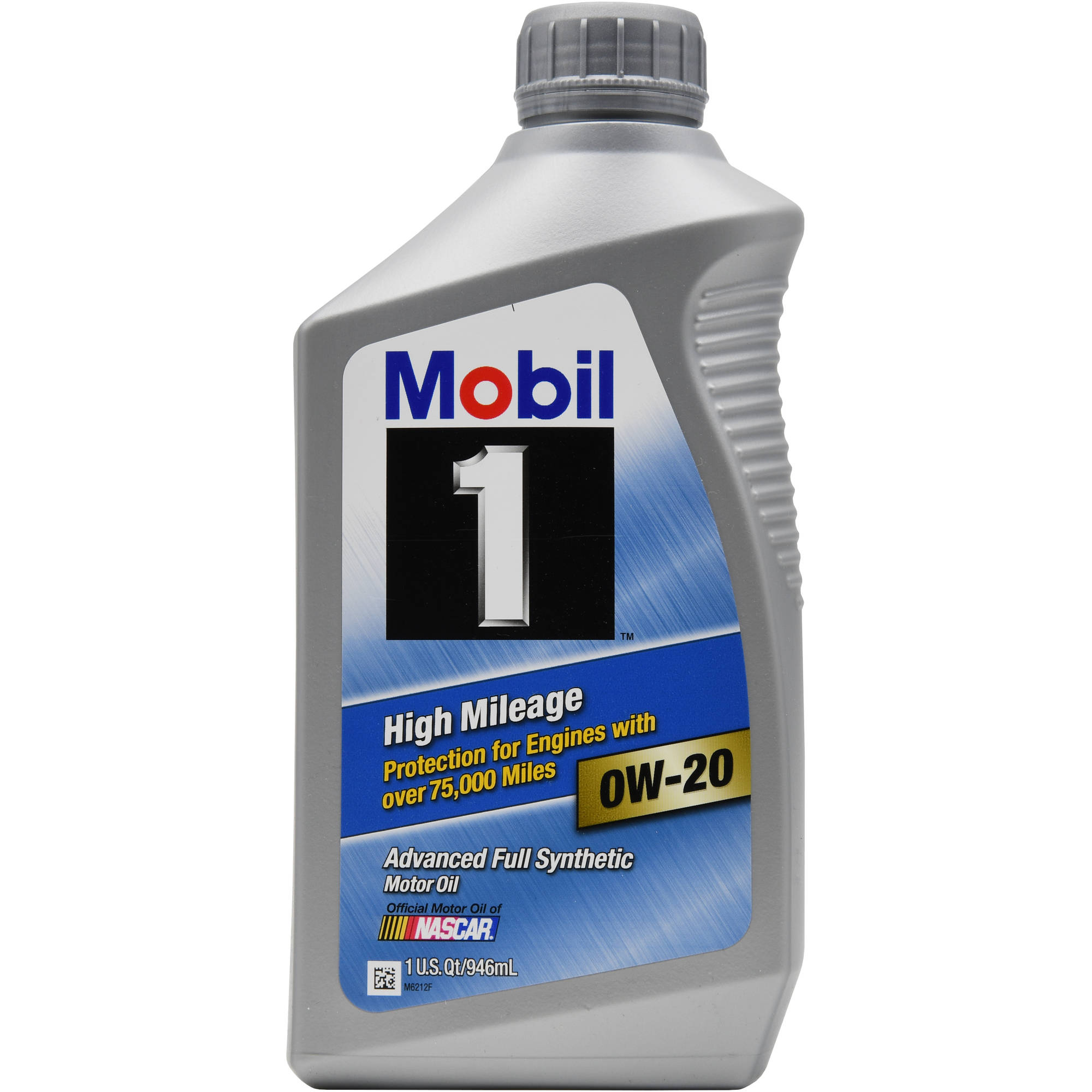 Mobil 1 High Mileage Synthetic Motor Oil, 0W-20, 1 quart, 946 ml