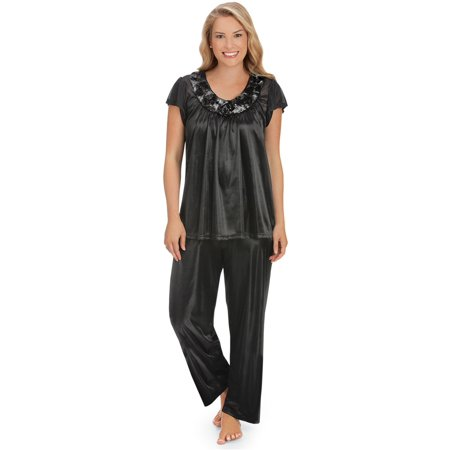 Women's Rose Trim Short Sleeve Pajama Set, Large, Black](Cotton Sateen Pajamas)