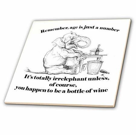 3dRose Birthday Irrelephant Elephant Cute Wine Age Greeting Card Funny