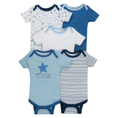 Little Star Organic Newborn Assorted Short Sleeve Bodysuit, 5Pk (Baby Boys, 6M, 9M, 12M, (Best Baby Products For Newborns)