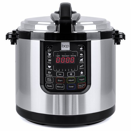Best Choice Products 10L 1000W Multifunctional Stainless Steel Non-Stick Electric Pressure Cooker with LED Display Screen, 10 Settings, 3 Modes,