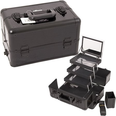 Sunrise E3305CRAB All Black Croc Pro Makeup Case - E3305