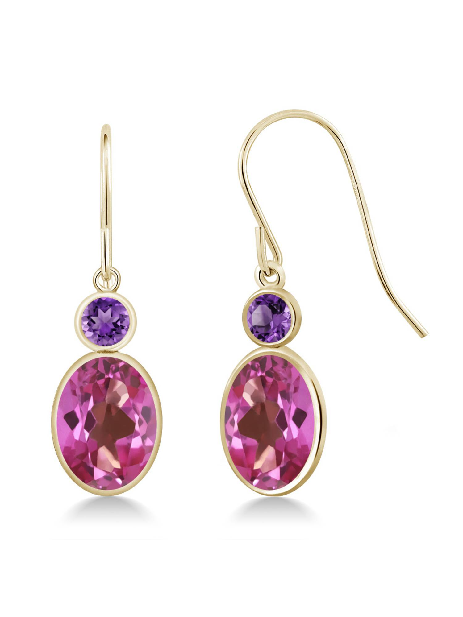 3.20 Ct Oval Pink Mystic Topaz Purple Amethyst 14K Yellow Gold Earrings by