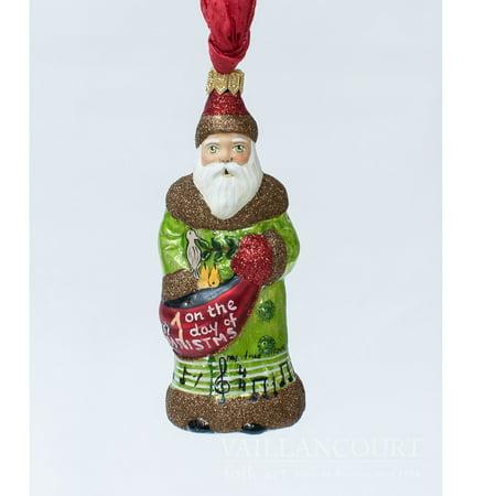 Vaillancourt Folk Art 1st Day of Christmas Partridge Pear Tree Polish Ornament (Primitive Folk Art Halloween Ornaments)