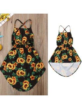 2aa1df5e4e Product Image Summer Sunflower Dress Sleeveless Halter Asymmetrical Sundress  Boho Kids Baby Girl Kids Girl Clothes Backless Bandage