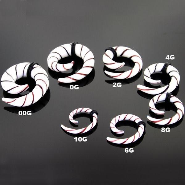 White Black Swirl Pyrex Glass Spiral Ear Plugs - Pair