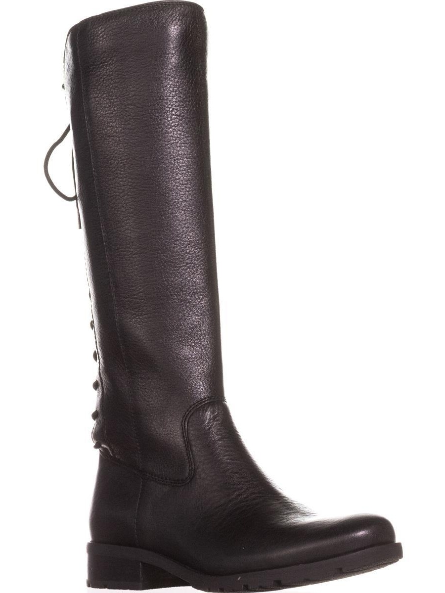 Womens Sofft Sharnell Back Lace Up Knee High Boots, Black by Sofft