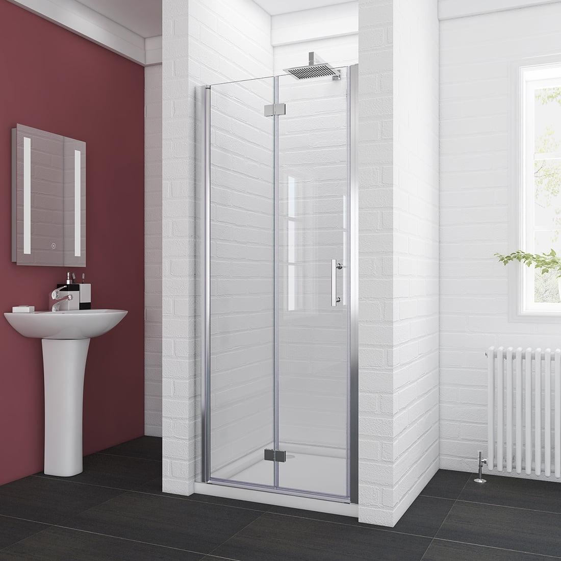 Sunny Showers 32 W X 72 H Bi Fold Hinged Semi Frameless Shower Door 3 16 Fold Clear Glass Shower Panel Pivot Swing Corner Shower Door Chrome