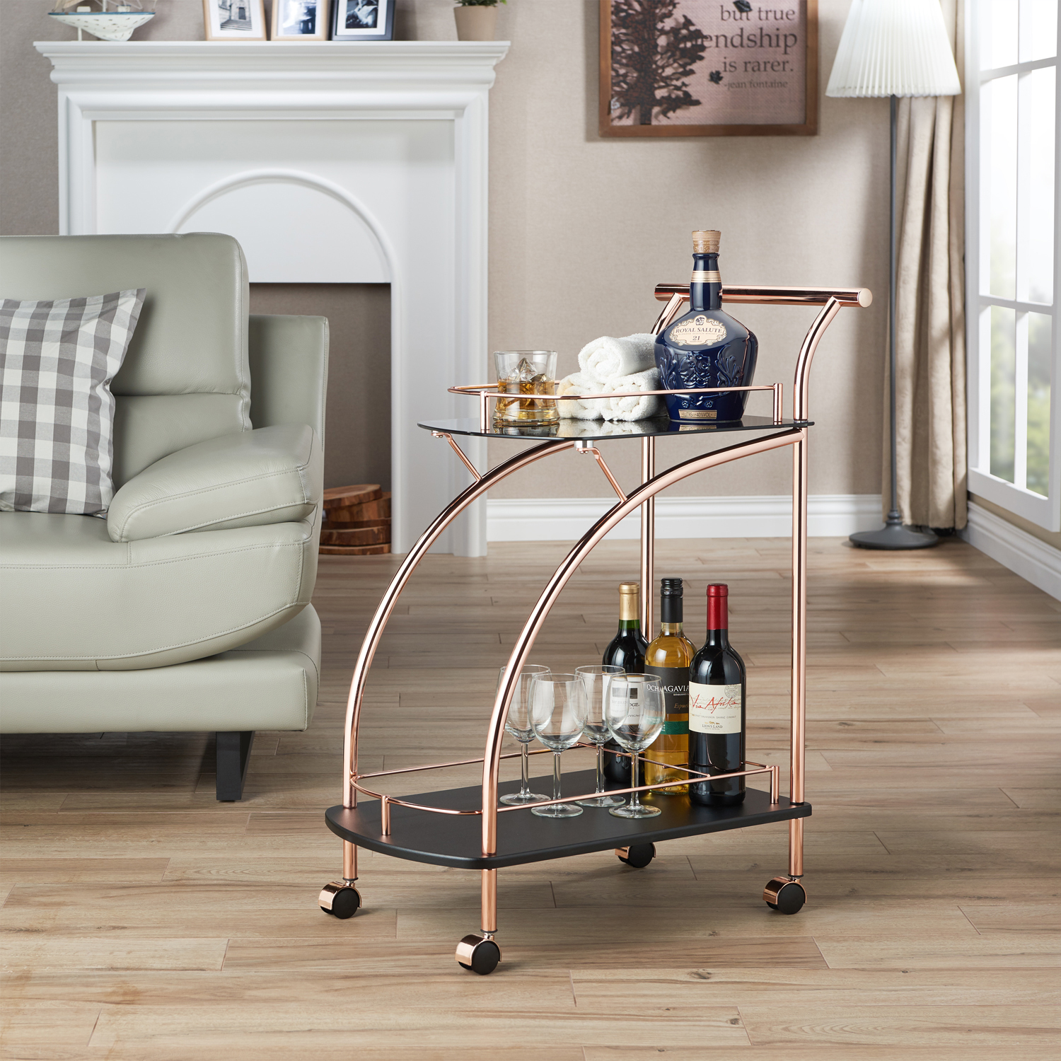 Furniture of America Jaliee Contemporary Serving Cart, Rose Gold and Black by Furniture of America