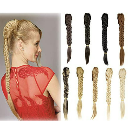 Diamond Straight Fishtail - FLORATA Hair Long Straight Ponytail Clip in Braided Ponytail Fishtail Plaited Synthetic Hair Extensions Hairpiece
