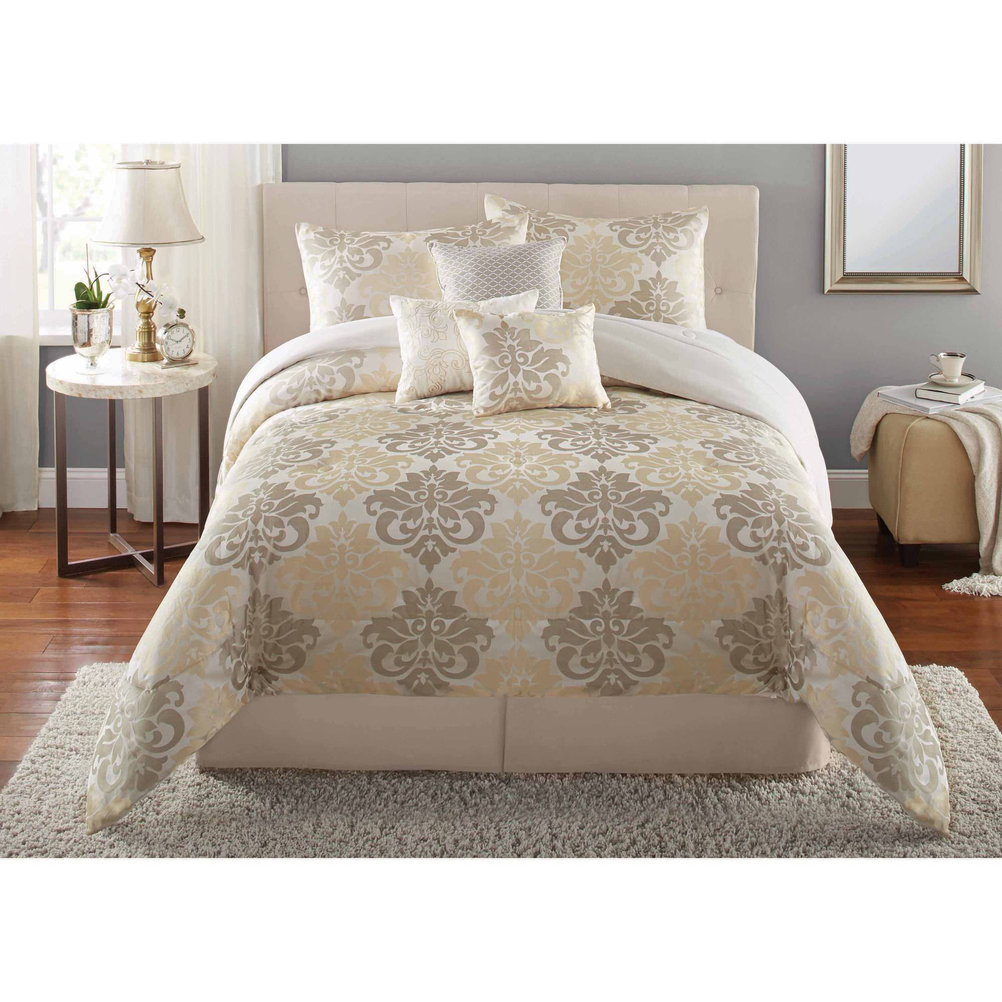 Mainstays 7 Piece Damask Bedding Comforter Set Walmart Com