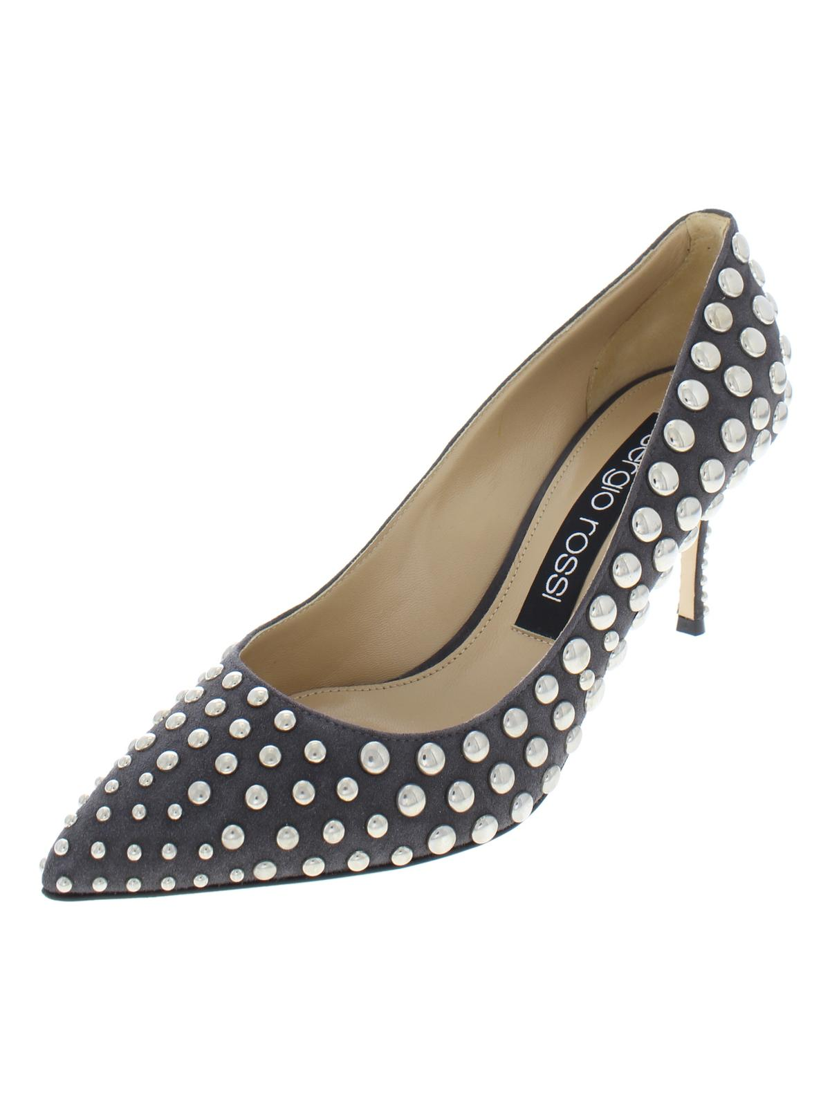 b44b087c35ac Buy Sergio Rossi Womens Godiva Suede Studded Dress Heels only ...