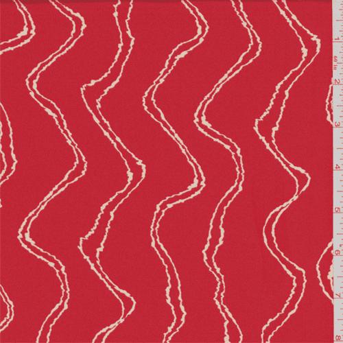 Deep Orange Chevron Wave Crepe de Chine, Fabric By the Yard