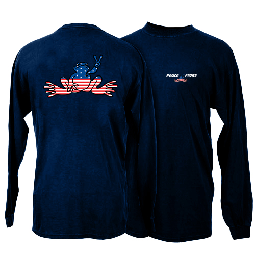 Peace Frogs Youth Navy USA Long Sleeve T-Shirt