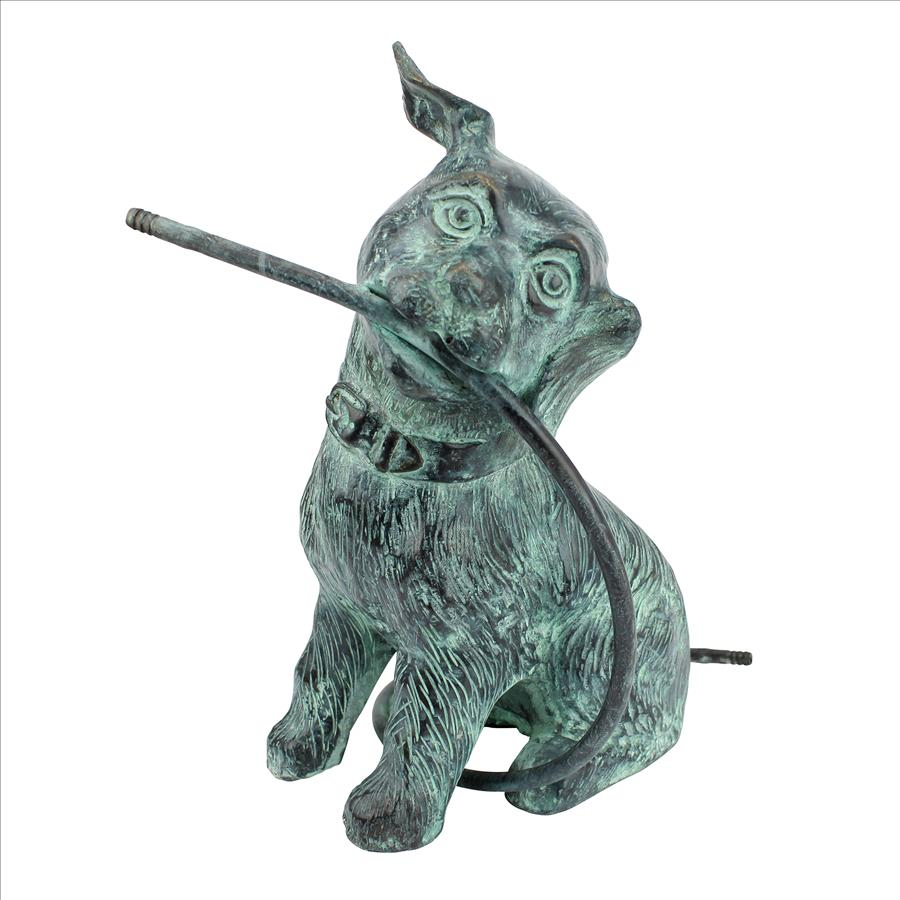 Raining Dogs Bronze Piped Garden Statue: Emerald Verde Patina by Design Toscano