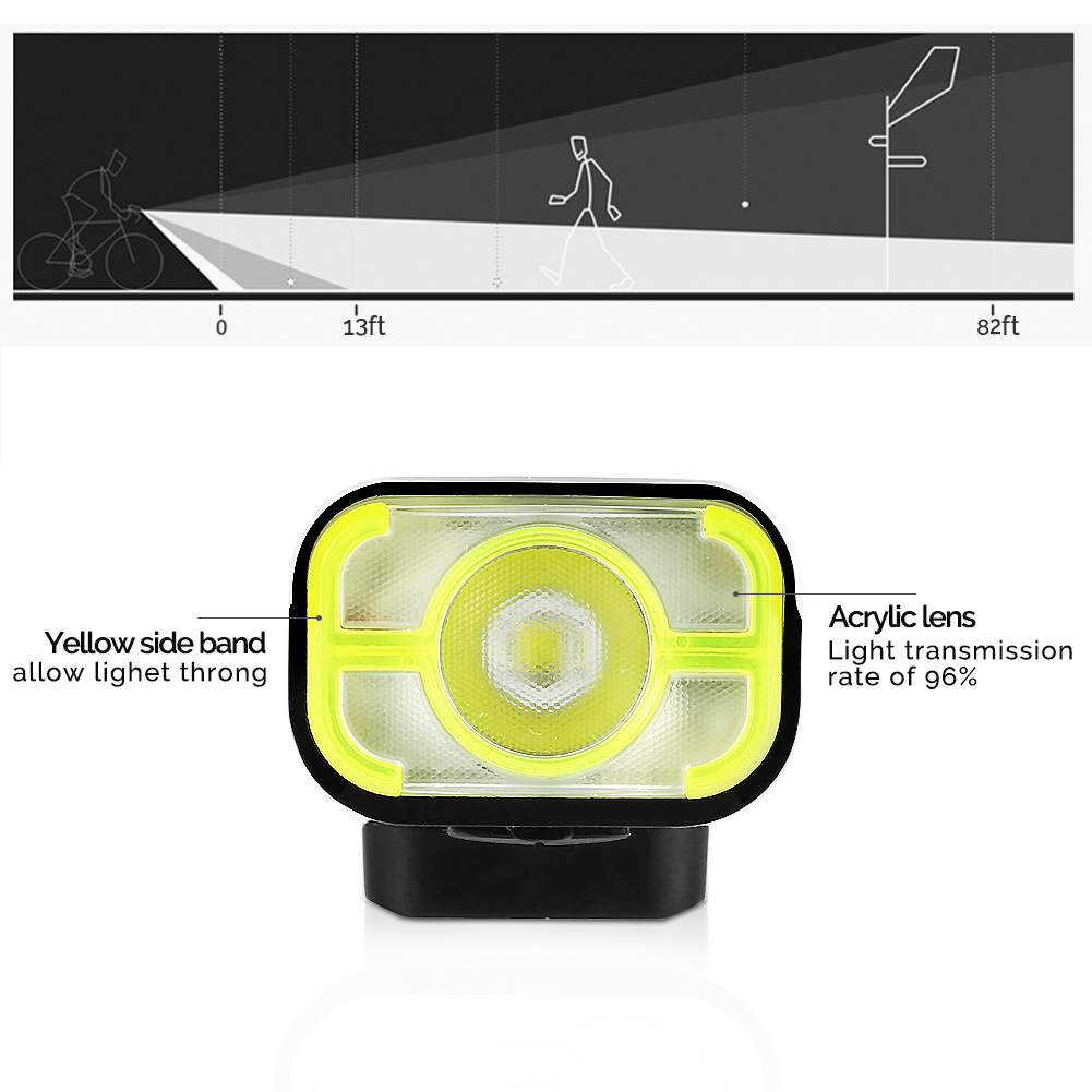 LED USB Rechargeable Cycling Headlight Wide Beam Angle 360° Swivel 400 Lumens LED Off Road Bicycle Bike Front Light - image 7 of 8