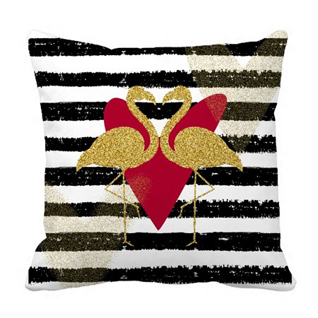 PHFZK Animal Pillow Case, Gold Glitter Love Bird Flamingo on Stripe Background Pillowcase Throw Pillow Cushion Cover Two Sides Size 18x18 (Love Birds Animals)