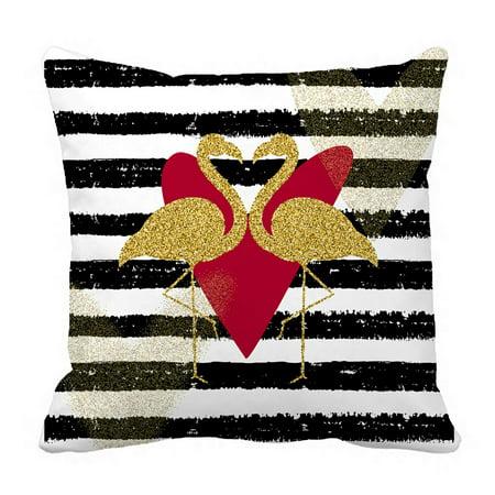 PHFZK Animal Pillow Case, Gold Glitter Love Bird Flamingo on Stripe Background Pillowcase Throw Pillow Cushion Cover Two Sides Size 18x18 inches