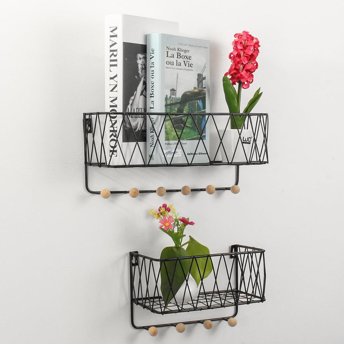 Metal Wall Shelf Wall Mounted Floating Shelves Decorative Storage Holder Organizer Iron Rack Bracket With Hooks For Bedroom Living Room Bathroom Kitchen Office 14 5x6 5x5 Inch Walmart Com Walmart Com