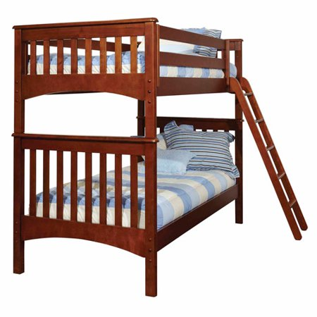 Generic Mission Twin Over Twin Wood Bunk Bed Chestnut