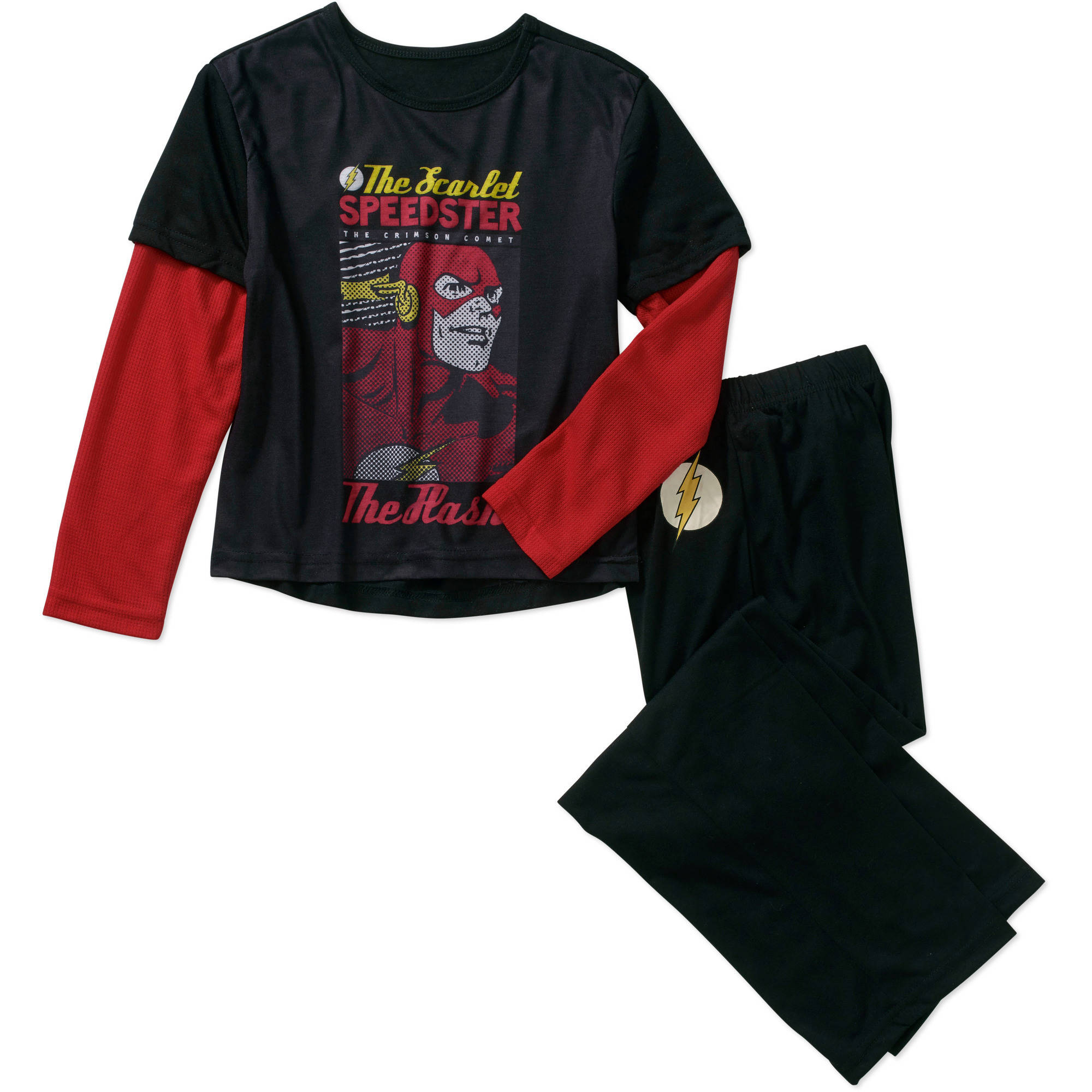 DC Comics Boys' Licensed Waffle Pajama Sleepwear Set, Available in 4 Graphics