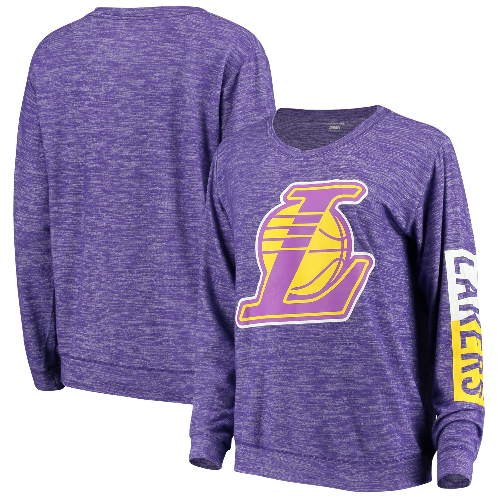 Los Angeles Lakers New Era Women's Space Dye Knit Tri-Blend Long Sleeve T-Shirt - Heathered Purple