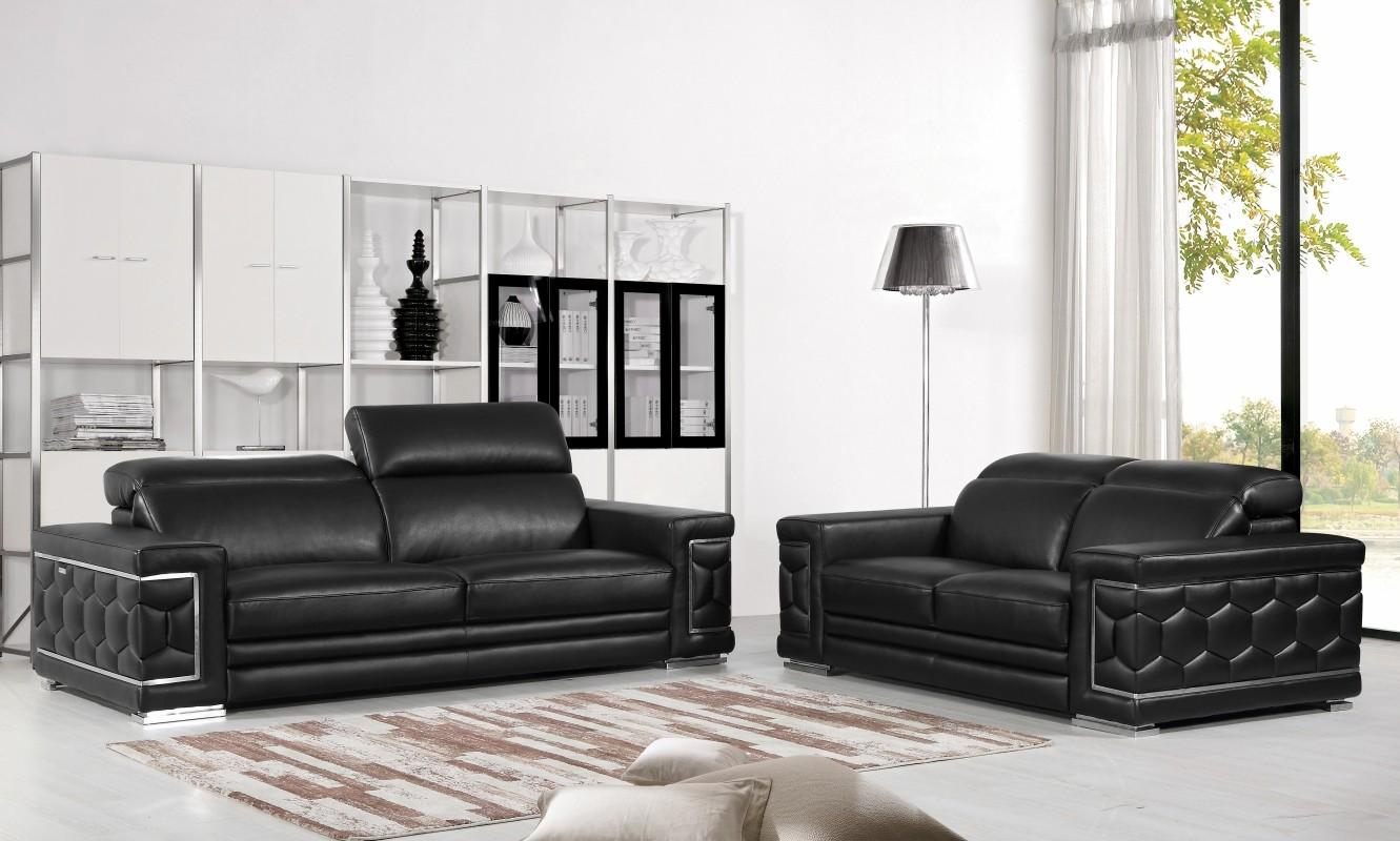 Contemporary Black Genuine Italian Leather Sofa Set 2 Pcs Global United 692  - Walmart.com