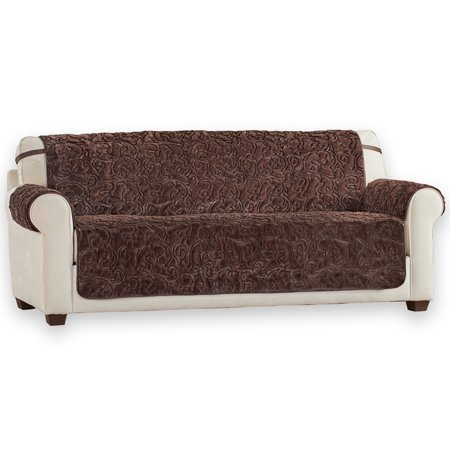 Plush Faux Fur Reversible Furniture Protector Cover, Microfiber Fabric Reverse Side, Sofa, Chocolate