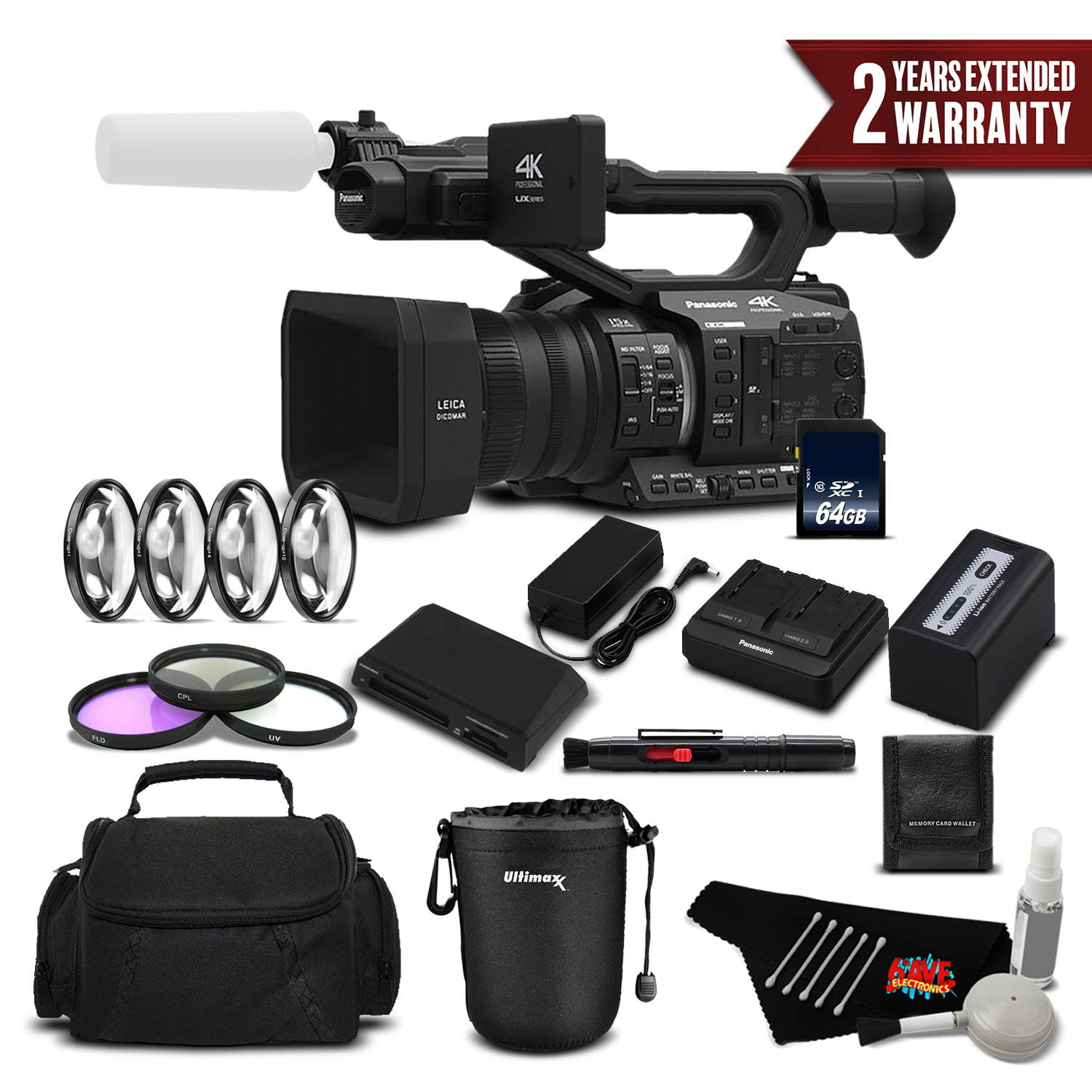 Panasonic AG-UX90 4K/HD Professional Camcorder Standard Plus Bundle -  International Version