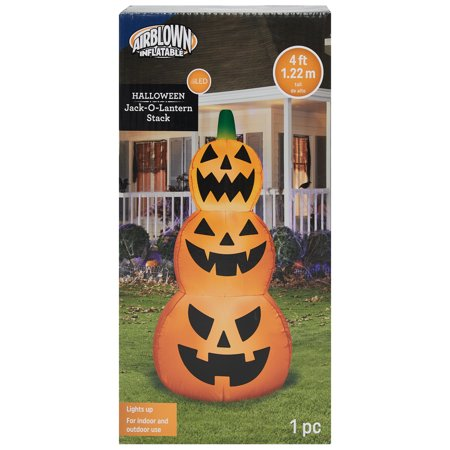 Halloween Airblown Inflatable Jack O Lantern Stack 4FT Tall by Gemmy Industries](Halloween Jack O Lantern Cat)